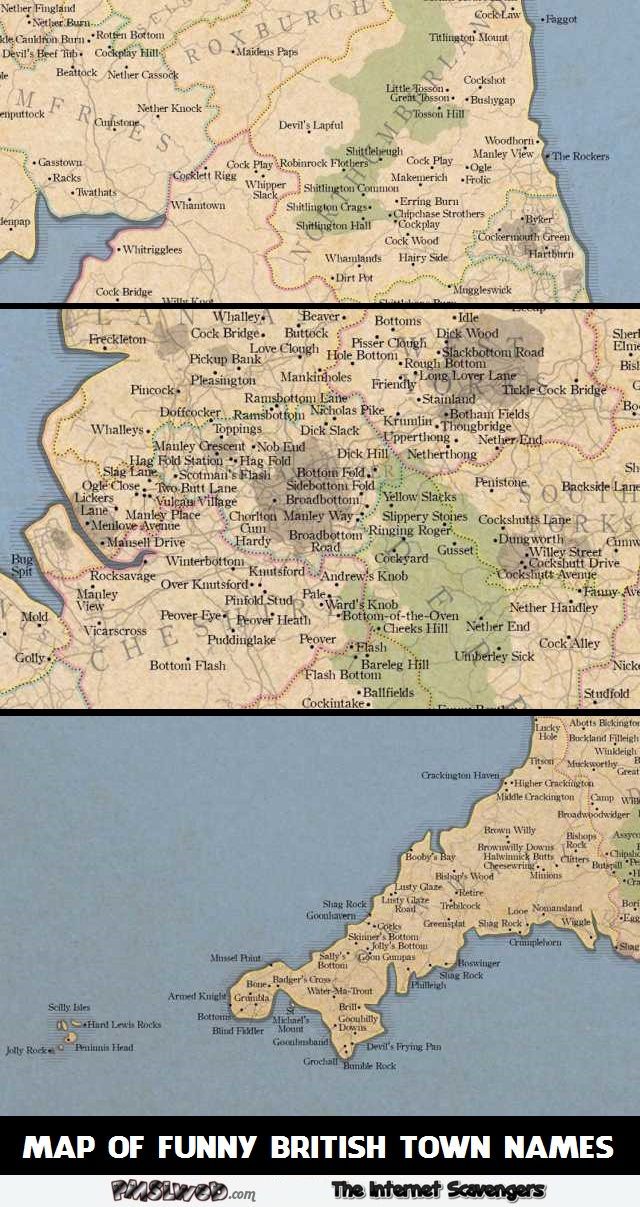 Map of funny british town names – British humour @PMSLweb.com