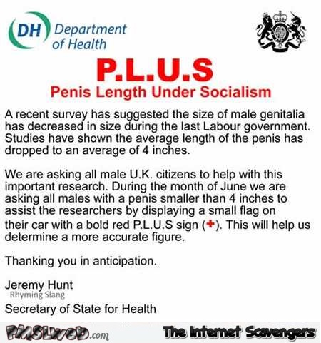 Funny penis length under socialism study – British humour @PMSLweb.com