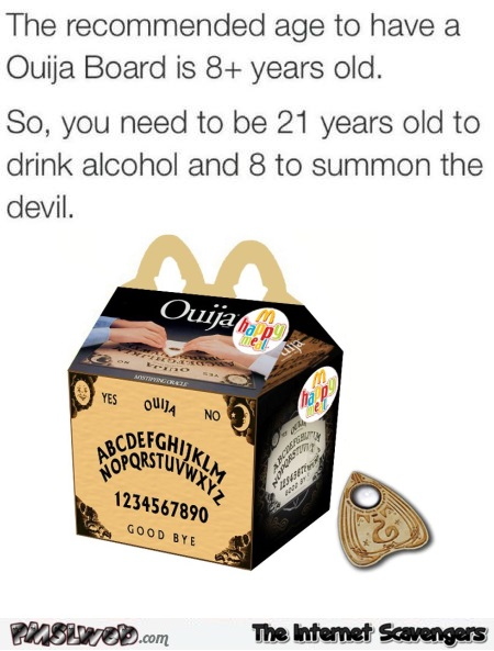 Funny the recommended age to have a Ouija board