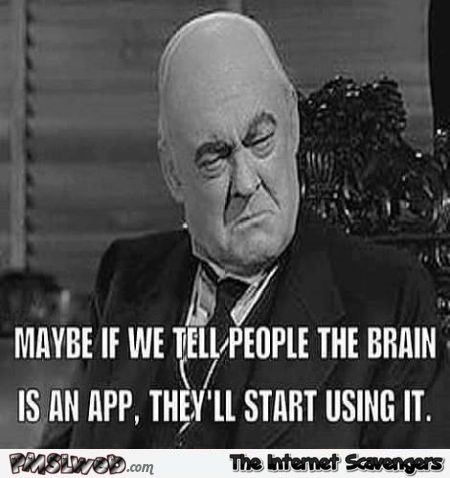 If we tell people the brain is an app funny meme @PMSLweb.com
