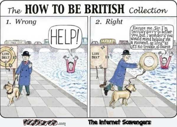 How to be British funny cartoon @PMSLweb.com