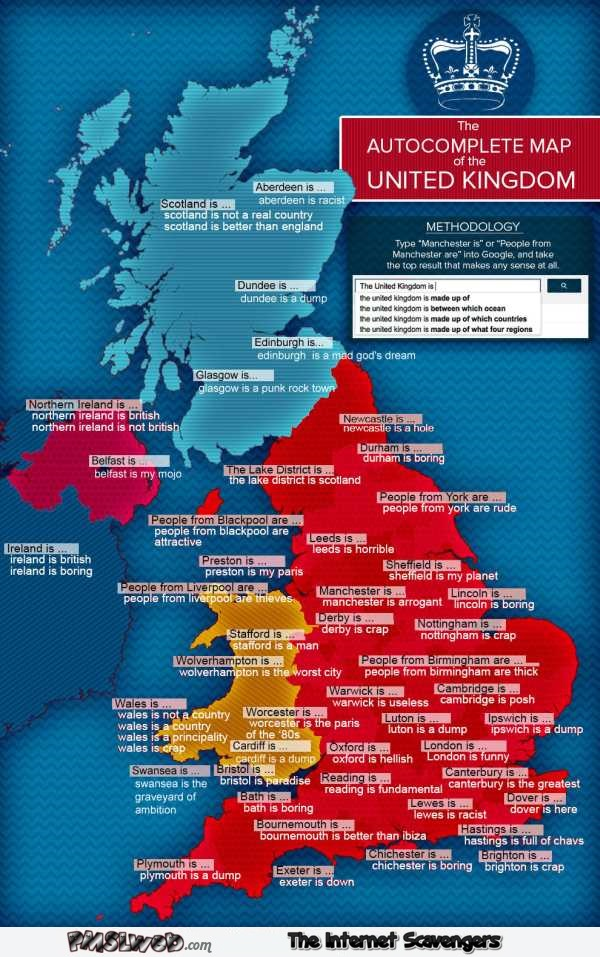 Funny autocomplete map of the United Kingdom – British humour @PMSLweb.com