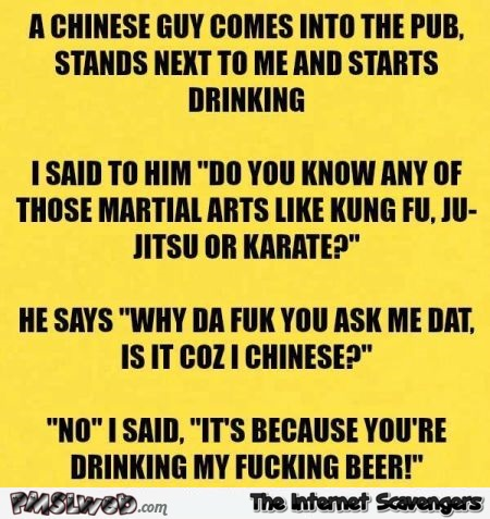 A Chinese guy comes into the pub joke
