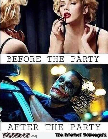 Makeup before versus after the party @PMSLweb.com