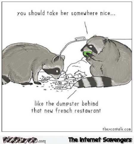 Funny raccoon dating advice cartoon @PMSLweb.com