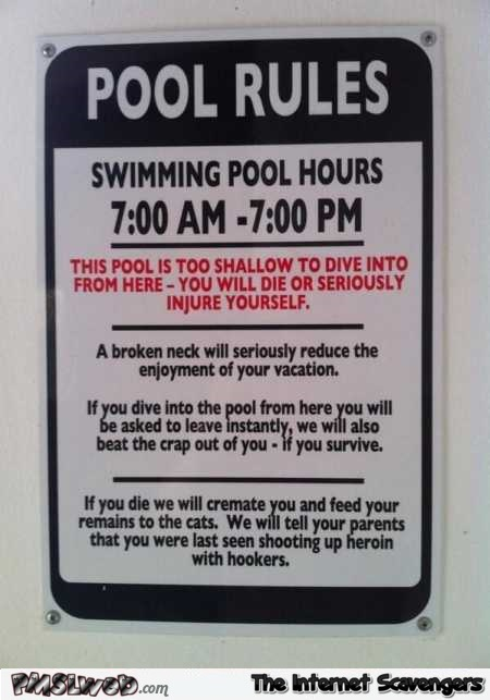 Funny pool rules @PMSLweb.com