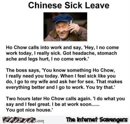 Chinese sick leave joke @PMSLweb.com