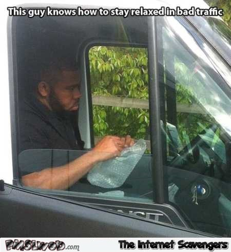 This guy knows how to stay relaxed in bad traffic meme @PMSLweb.com