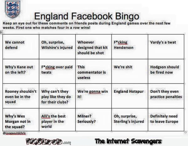 Funny English football bingo @PMSLweb.com