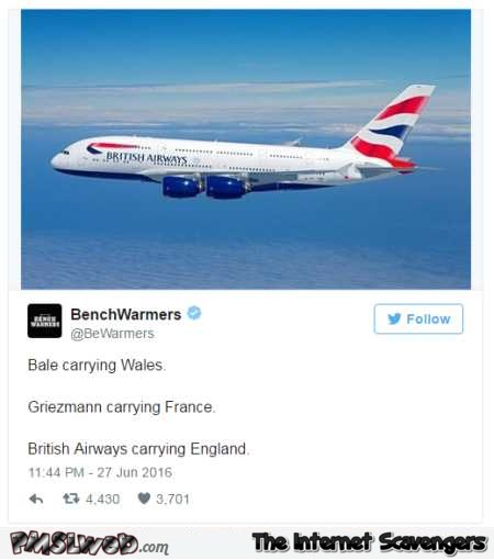 Funny Bristish airways Euro 2016 tweet @PMSLweb.com