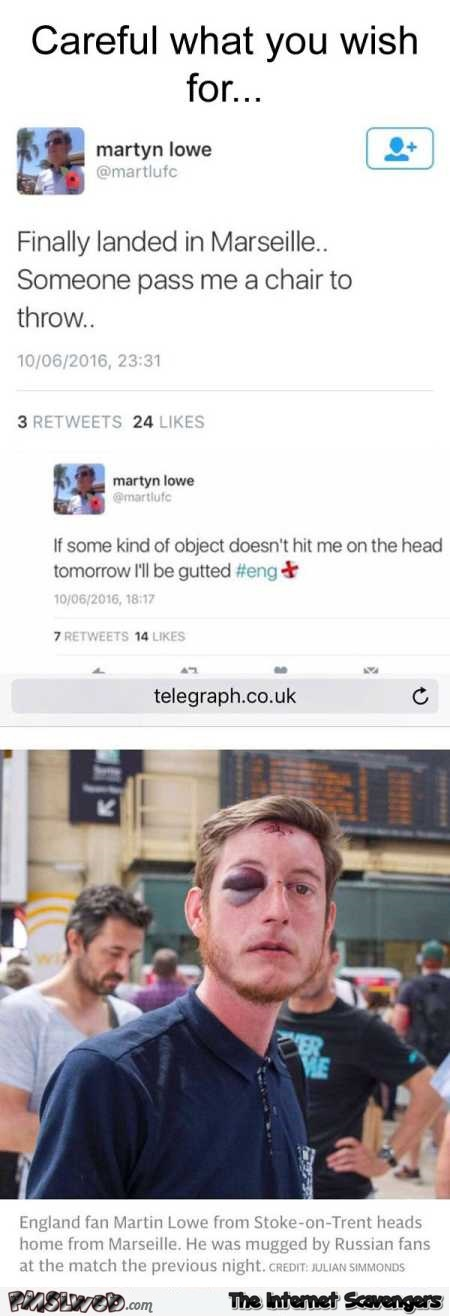 Funny British fan Euro 2016 tweet @PMSLweb.com