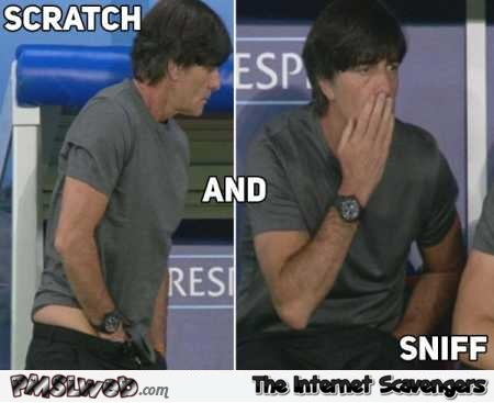 Funny Joachim Low scratch and sniff