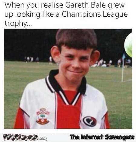 Funny Gareth Bale looks like the championship league trophy @PMSLweb.com
