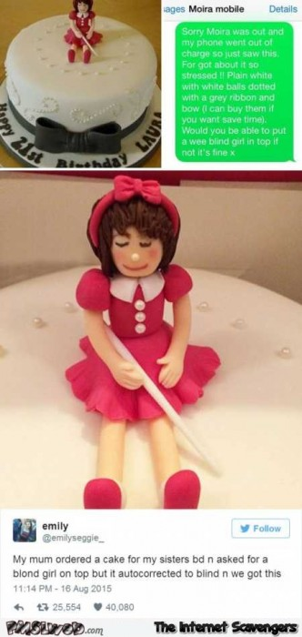 Blind girl on top of cake funny typo fail