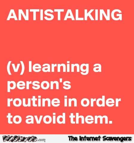 Funny antistalking definition @PMSLweb.com