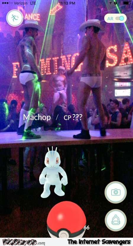 Pokemon appears in a strip club Pokemon Go humor @PMSLweb.com