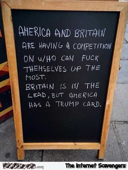 America and Britain are having a competition funny sign – Hump day hilarity @PMSLweb.com