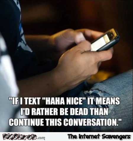 If I text haha nice funny meme