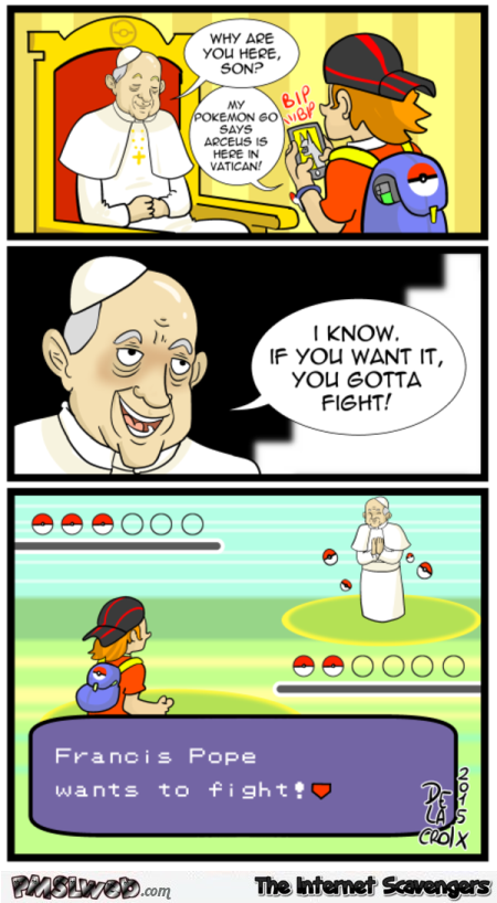 Pokemon Go in Vatican funny cartoon @PMSLweb.com
