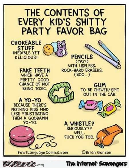 Shitty party favor bag humor @PMSLweb.com