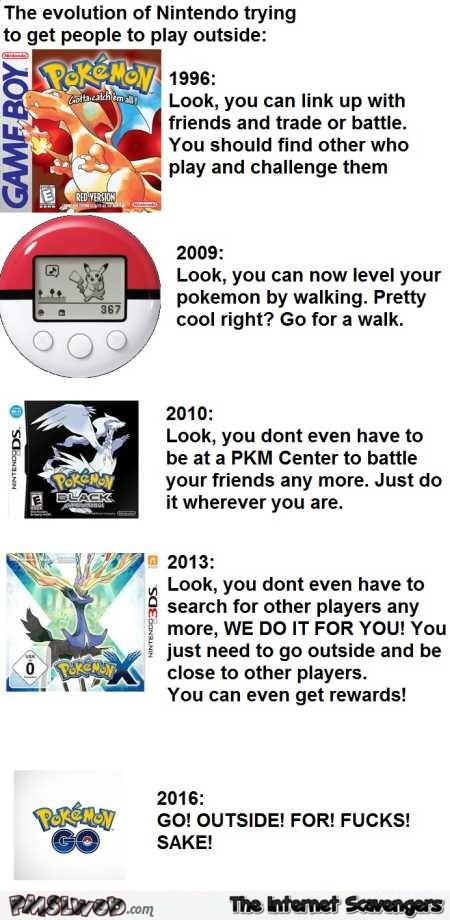 Evolution of Nintendo trying to get people to play outside humor @PMSLweb.com