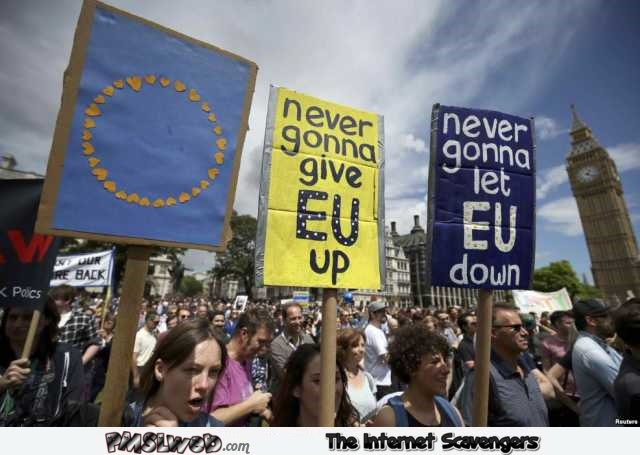 Never gonna give EU up funny protesters – Monday YLYL pictures @PMSLweb.com