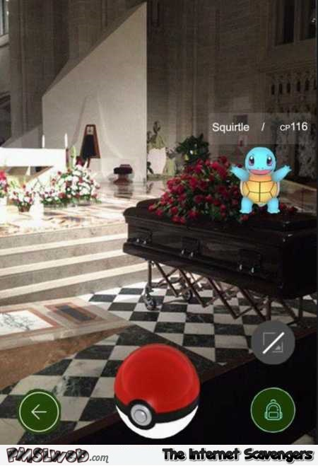Playing Pokemon go at a funeral funny fail @PMSLweb.com