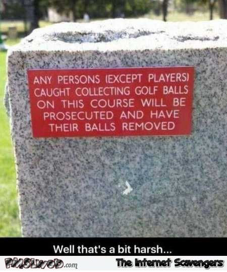 Funny gold course sign