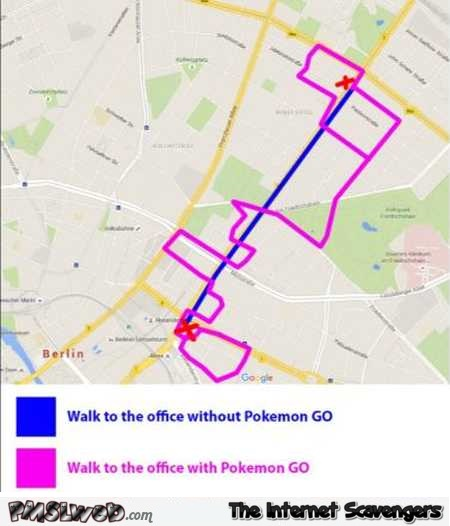 Walk to the office with versus without Pokemon Go humor @PMSLweb.com