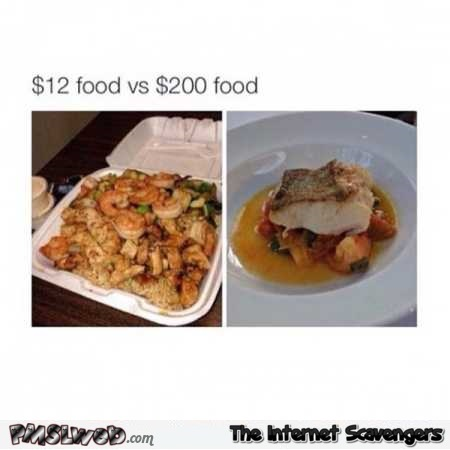 Funny take away versus fancy food prices – Funny Monday mocking @PMSLweb.com