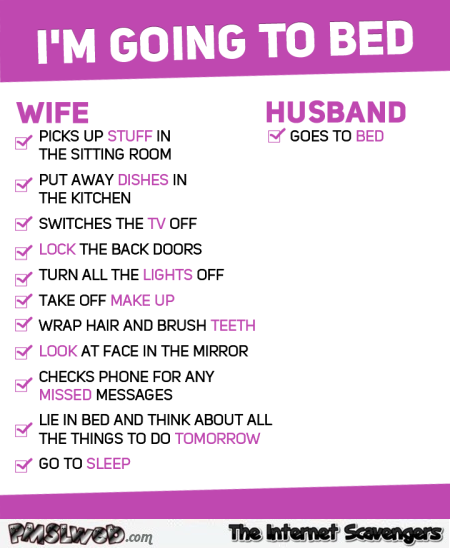 Funny I'm going to bed wife versus husband @PMSLweb.com