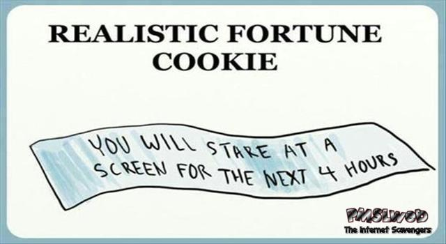 Funny realistic fortune cookie