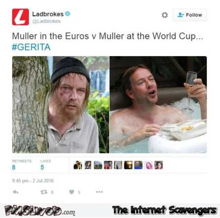 Muller in the Euro versus during the world cup humor @PMSLweb.com