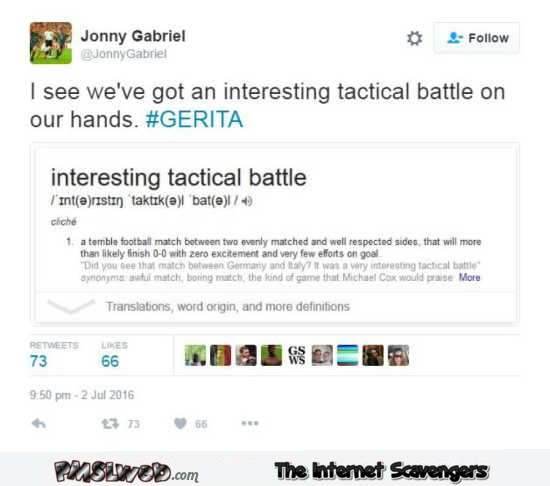 Interesting tactical battle Germany vs Italy funny tweet – Euro 2016 memes and funny pictures @PMSLweb.com