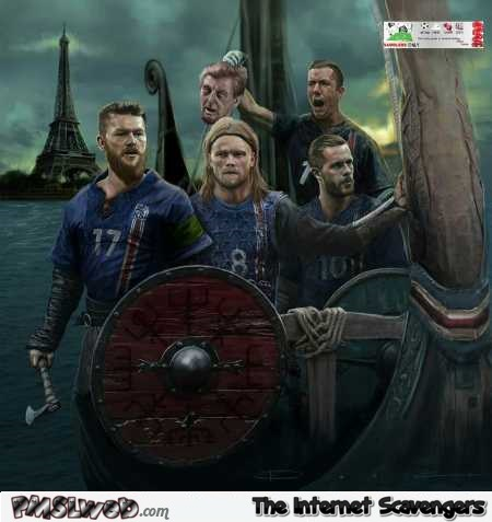 Iceland on their way to Paris Euro 2016 humor @PMSLweb.com