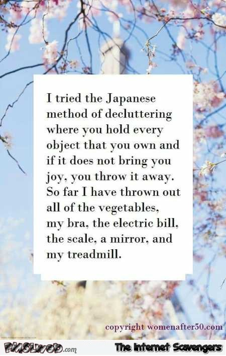 I tried the Japanese method of decluttering funny quote @PMSLweb.com