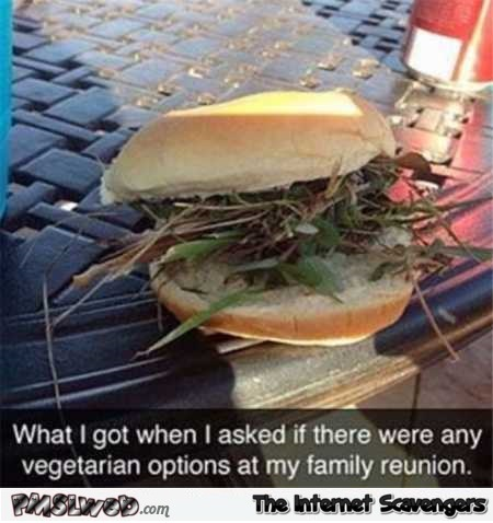 Funny vegetarian options at family reunion @PMSLweb.com
