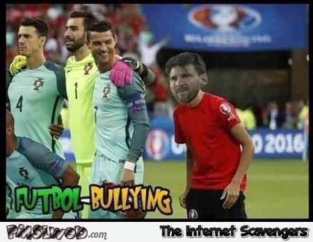 Funny Messi photoshop troll posing with Portuguese team