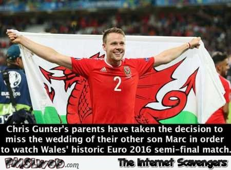 Chris Gunter's parents missed their son's wedding to watch the semi final