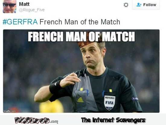 GERFRA man of the match funny meme @PMSLweb.com