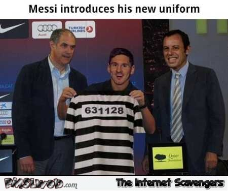 Messi introduces his new uniform humor @PMSLweb.com