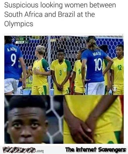 Suspicious looking woman in the Brazilian team humor @PMSLweb.com