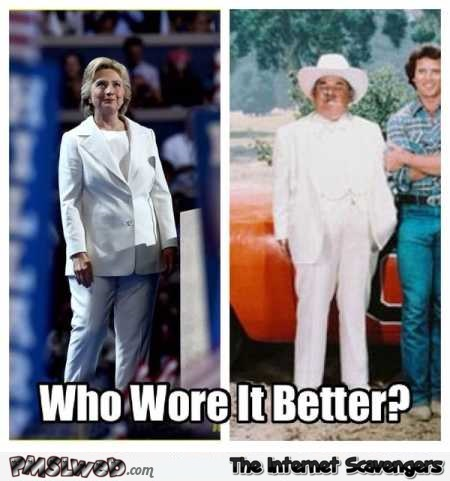 Funny who wore it better Hilarity Clinton or Boss Hogg @PMSLweb.com