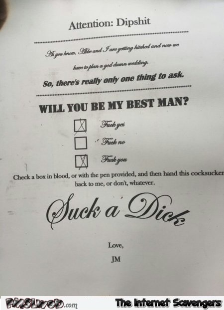 Will you be my best man funny form @PMSLweb.com