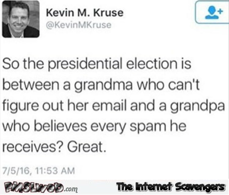 Funny presidential election in a nutshell tweet @PMSLweb.com