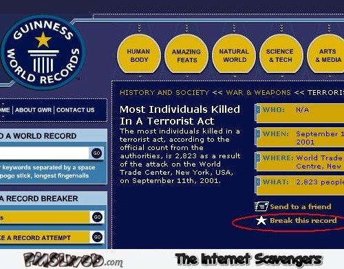Terrorist attack Guinness world records fail @PMSLweb.com