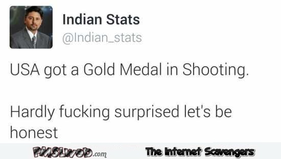USA got a gold medal in shooting funny tweet @PMSLweb.com