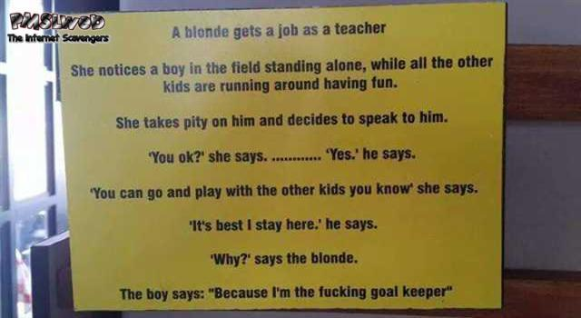 Blonde hired as a teacher funny joke – Funny Sunday picture gallery @PMSLweb.com