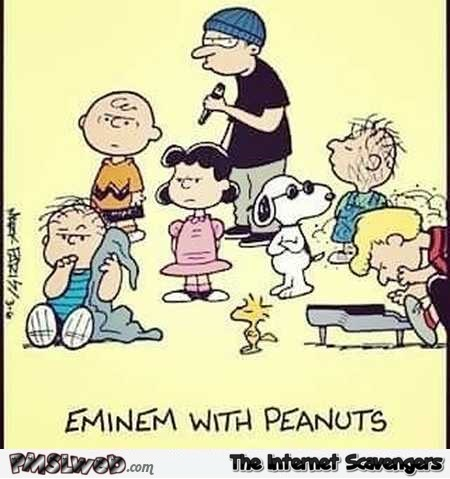 Funny Eminem and Peanuts cartoon @PMSLweb.com