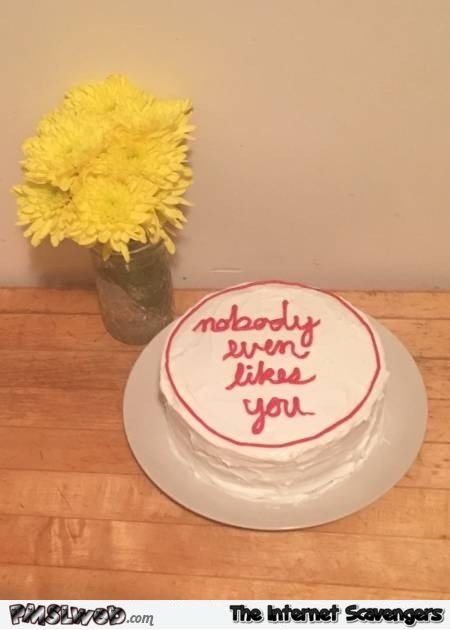 Nobody even likes you sarcastic cake